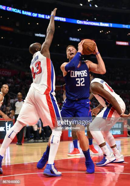 Los Angeles Clippers Forward Blake Griffin drives around Detroit Pistons Forward Anthony Tolliver during an NBA game between the Detroit Pistons and...