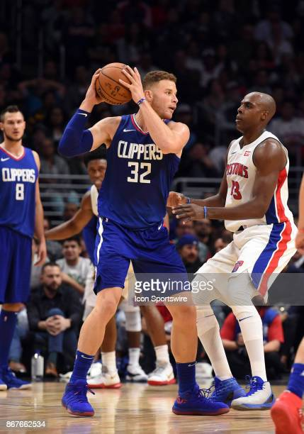 Los Angeles Clippers Forward Blake Griffin is guarded by Detroit Pistons Forward Anthony Tolliver during an NBA game between the Detroit Pistons and...