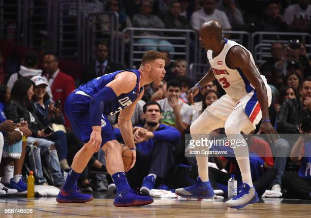 Los Angeles Clippers Forward Blake Griffin looks for an open lane around Detroit Pistons Forward Anthony Tolliver during an NBA game between the...