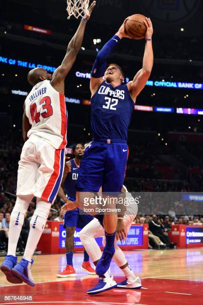 Los Angeles Clippers Forward Blake Griffin shoots around Detroit Pistons Forward Anthony Tolliver during an NBA game between the Detroit Pistons and...