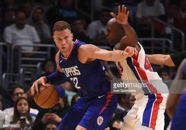 Los Angeles Clippers Forward Blake Griffin tries to push his way through Detroit Pistons Forward Anthony Tolliver during an NBA game between the...