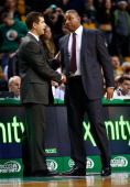 Los Angeles Clippers head coach Doc Rivers and Boston Celtics head coach Brad Stevens greet each other following the end of game at TD Garden on...