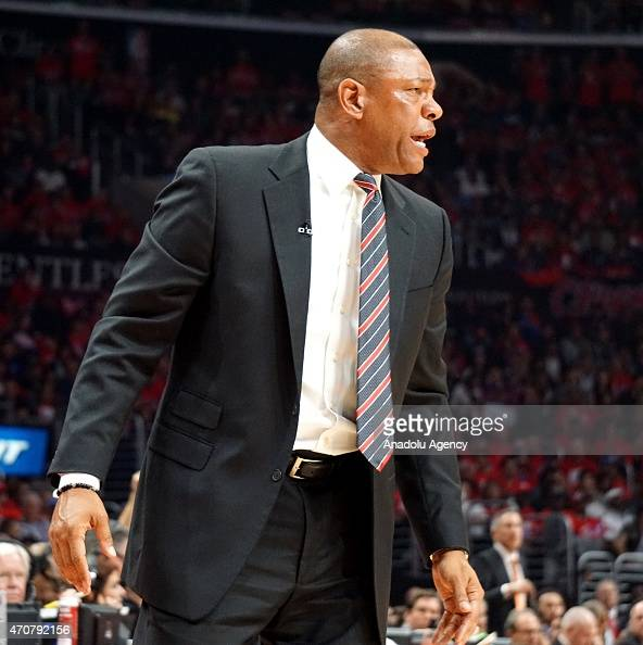 Los Angeles Clippers head coach Doc Rivers reacts during the first round of the 2015 NBA Western Conference Playoffs game against San Antonio Spurs...