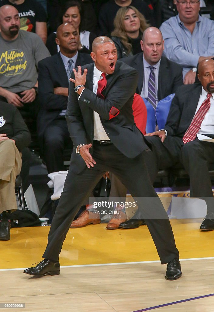 Los Angeles Clippers head coach Doc Rivers reacts to a call during a NBA game against Los Angeles Lakers at Staples Center in Los Angeles, California on December 25, 2016. The Lakers won 111-102. / AFP / RINGO