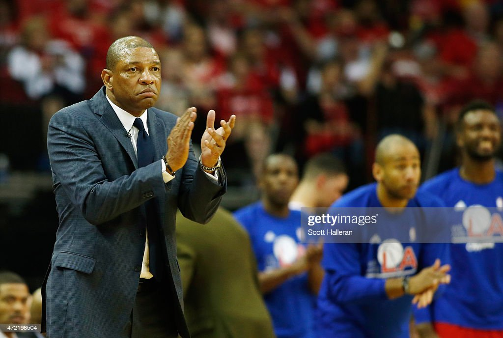 Los Angeles Clippers head coach Doc Rivers reacts to a play late in their game against the Houston Rockets during Game One in the Western Conference...