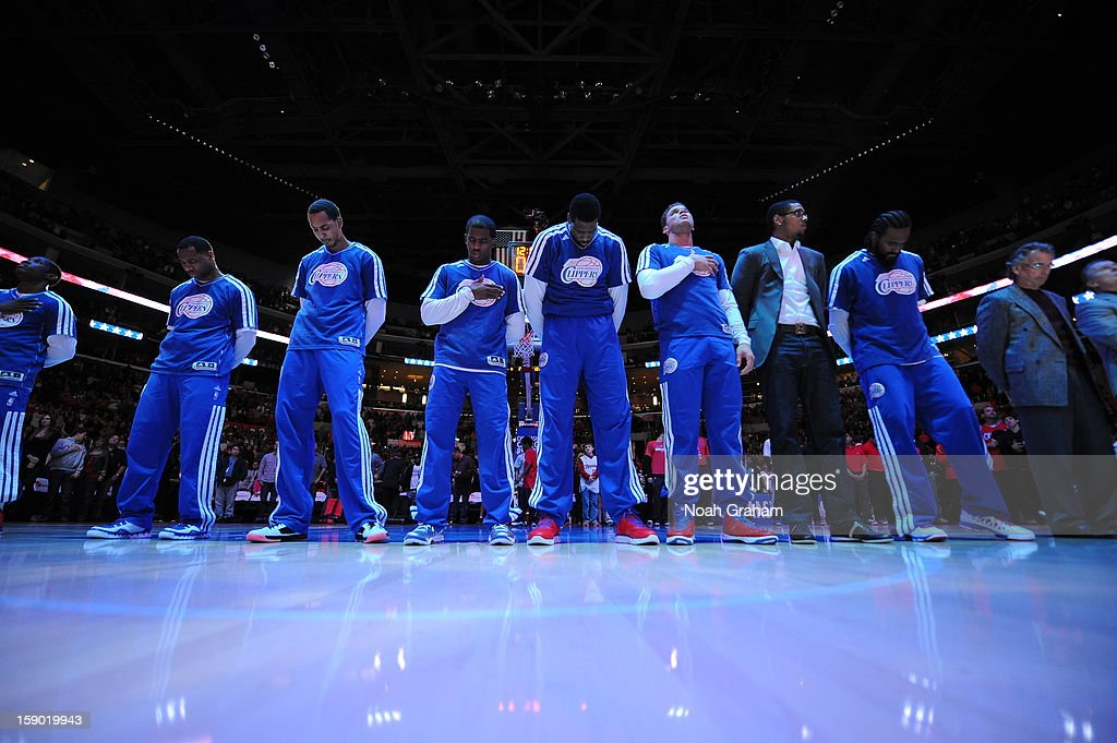 Los Angeles Clippers line up during the game between the Los Angeles Clippers and the Golden State Warriors at Staples Center on January 5, 2013 in Los Angeles, California.