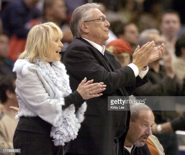 Los Angeles Clippers owner Donald Sterling aka Donald T Sterling and wife watch game against the New Jersey Nets at the Staples Center in Los Angeles...