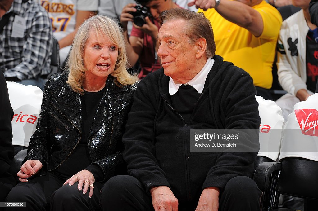Los Angeles Clippers owner, <a gi-track='captionPersonalityLinkClicked' href=/galleries/search?phrase=Donald+Sterling&family=editorial&specificpeople=630317 ng-click='$event.stopPropagation()'>Donald Sterling</a> and <a gi-track='captionPersonalityLinkClicked' href=/galleries/search?phrase=Rochelle+Sterling&family=editorial&specificpeople=12773205 ng-click='$event.stopPropagation()'>Rochelle Sterling</a>, attend a game against the Indiana Pacers at Staples Center on April 1, 2013 in Los Angeles, California.