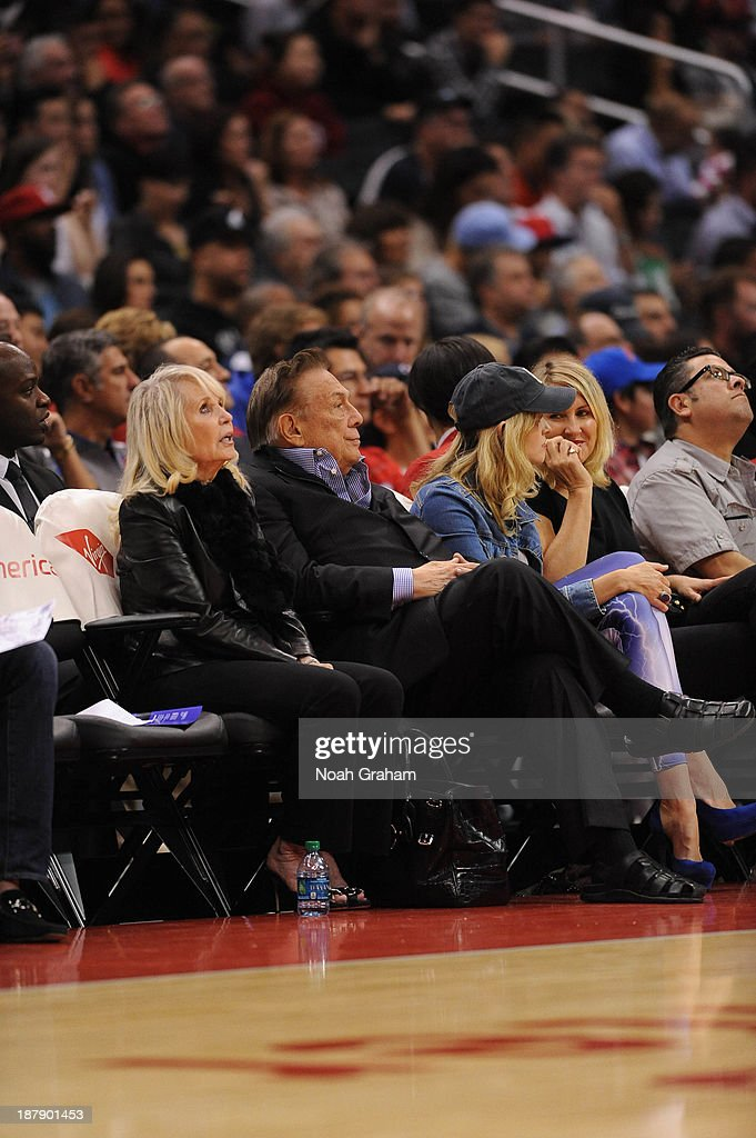 Los Angeles Clippers owner <a gi-track='captionPersonalityLinkClicked' href=/galleries/search?phrase=Donald+Sterling&family=editorial&specificpeople=630317 ng-click='$event.stopPropagation()'>Donald Sterling</a> and wife <a gi-track='captionPersonalityLinkClicked' href=/galleries/search?phrase=Rochelle+Sterling&family=editorial&specificpeople=12773205 ng-click='$event.stopPropagation()'>Rochelle Sterling</a> look on during a game against the Minnesota Timberwolves at Staples Center on November 11, 2013 in Los Angeles, California.