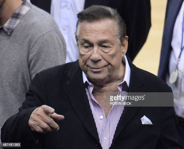Los Angeles Clippers owner Donald Sterling attends the NBA playoff game between the Clippers and the Golden State Warriors on April 21 2014 at...