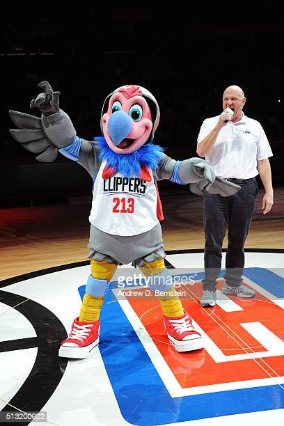Los Angeles Clippers owner Steve Ballmer announces the new mascot Chuck during the game against the Brooklyn Nets at STAPLES Center on February 29...