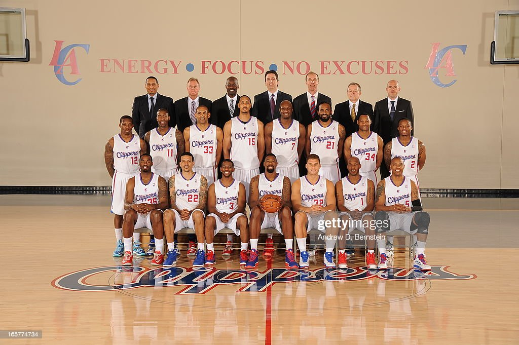 Los Angeles Clippers players and coaching staff pose for a team photo in their practice facility on April 5, 2013 in Playa Vista, California.