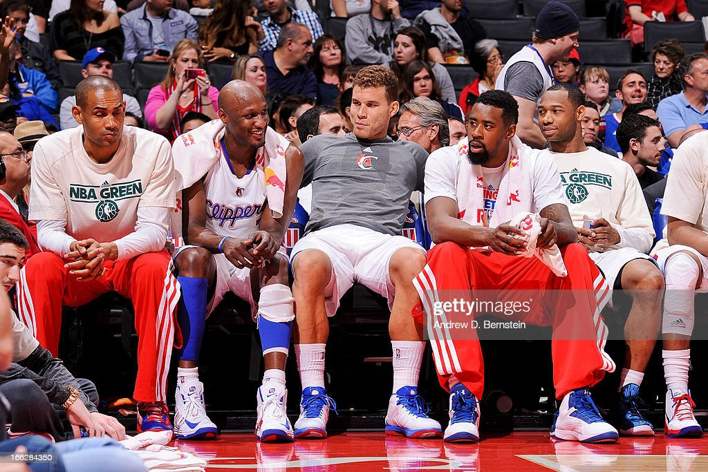 Los Angeles Clippers players, from left, Grant Hill #33, Lamar Odom #7, Blake Griffin #32, DeAndre Jordan #6 and Willie Green #34 look on from the bench during a game against the Minnesota Timberwolves at Staples Center on April 10, 2013 in Los Angeles, California.