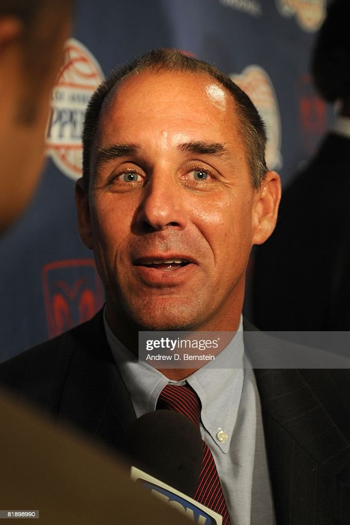 Los Angeles Clippers President Andy Roeser speaks to the media during a press conference on July 10, 2008 at Staples Center in Los Angeles, California.