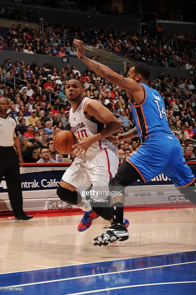 Los Angeles Clippers shooting guard <a gi-track='captionPersonalityLinkClicked' href=/galleries/search?phrase=Eric+Gordon+-+Basketball+Player&family=editorial&specificpeople=4212733 ng-click='$event.stopPropagation()'>Eric Gordon</a> #10 drives to the basket during the game against the Oklahoma City Thunder at Staples Center on April 2, 2011 in Los Angeles, California. The Clippers won 98-92.