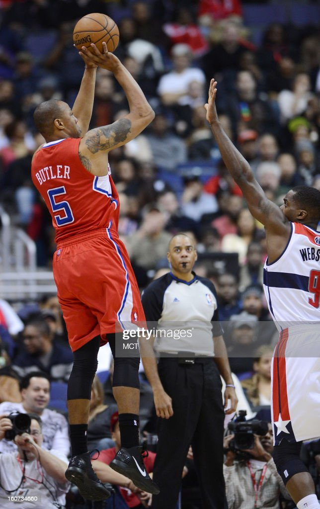 Los Angeles Clippers small forward Caron Butler (5) scores on a jump shot over Washington Wizards small forward Martell Webster (9) in the third quarter at the Verizon Center in Washington, D.C., Monday, February 4, 2013. The Wizards defeated the Clippers, 98-90.