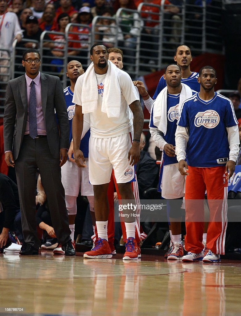 Los Angeles Clippers team watch from the bench during a 106-77 Clipper win over the Boston Celtics for 15 straight wins at Staples Center on December 27, 2012 in Los Angeles, California.