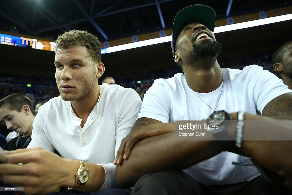 Los Angeles Clippers teammates <a gi-track='captionPersonalityLinkClicked' href=/galleries/search?phrase=Blake+Griffin+-+Basketball+Player&family=editorial&specificpeople=4216010 ng-click='$event.stopPropagation()'>Blake Griffin</a> (L) and <a gi-track='captionPersonalityLinkClicked' href=/galleries/search?phrase=DeAndre+Jordan&family=editorial&specificpeople=4665718 ng-click='$event.stopPropagation()'>DeAndre Jordan</a> attend the game between the Arizona Wildcats and the UCLA Bruins at Pauley Pavilion on March 2, 2013 in Los Angeles, California.