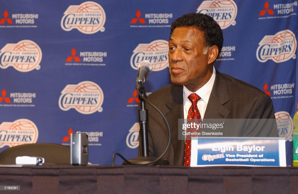 Los Angeles Clippers Vice President of Basketball Operations Elgin Baylor answers questions during a press conference on July 7 2003 in Los Angeles...