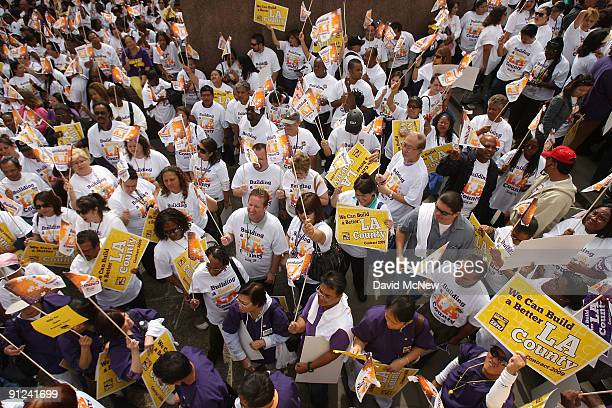 Los Angeles County employees rally about 36 hours before contracts expire for more than 55000 southern California Service Employees International...