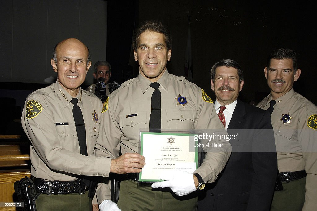 Los Angeles County Sheriff Lee Baca presided over the swearing in ceremonies for Actor and World Champion body builder Lou Ferrigno as he graduated from the Los Angeles County Deputy Sheriff's Reserve Academy at the Kenneth Hahn Hall of Administration Board of Supervisors Hearing Room on February 13, 2006 in Los Angeles, California. Along with the Sheriff, Los Angeles County Supervisor Zev Yaroslavsky (3rd District) and Commander Mike Leumi of the LACSD also participated in the graduation ceremonies.