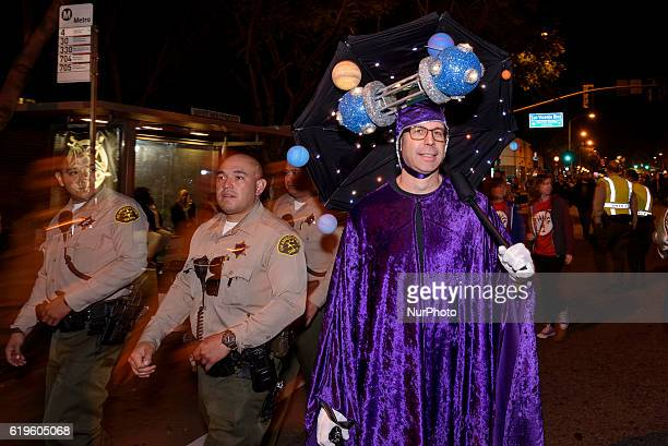 Los Angeles County Sheriff's Department officers patrol Santa Monica Boulevard during the West Hollywood Halloween Carnaval known as the world's...