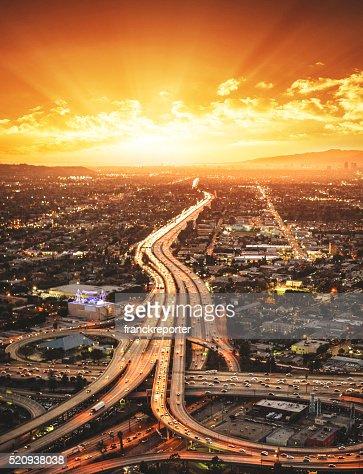 Los Angeles crossway junction aerial view