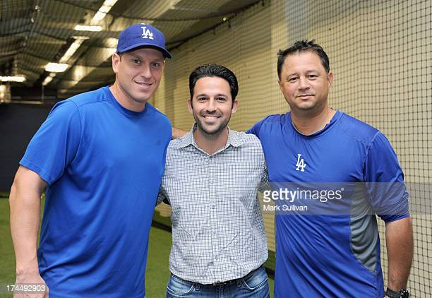 Los Angeles Dodger catcher AJ Ellis Franklin Sports director ecommerce Adam Franklin and Los Angeles Dodgers assistant hitting coach John Valentin...
