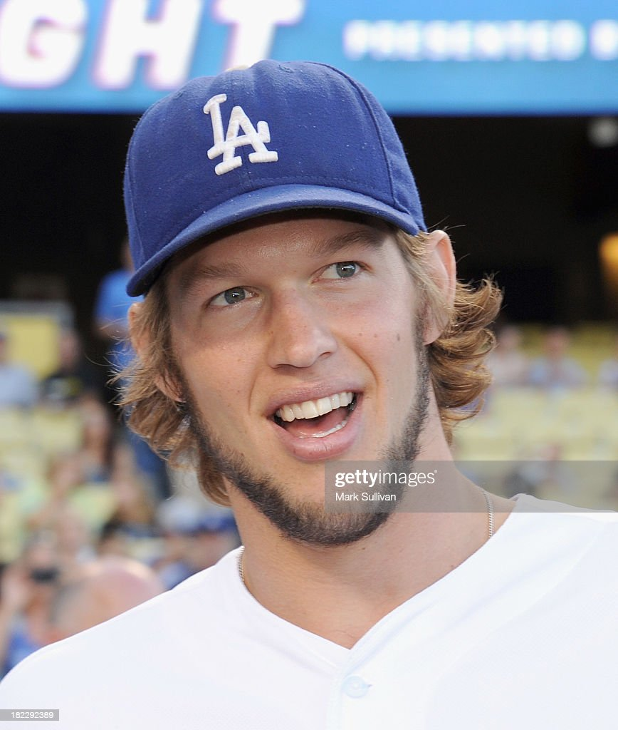 Los Angeles Dodger pitcher <a gi-track='captionPersonalityLinkClicked' href=/galleries/search?phrase=Clayton+Kershaw&family=editorial&specificpeople=4391635 ng-click='$event.stopPropagation()'>Clayton Kershaw</a> before the MLB game between the Colorado Rockies and Los Angeles Dodgers at Dodger Stadium on September 28, 2013 in Los Angeles, California.