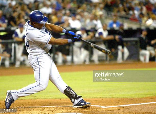 Los Angeles Dodgers Adrian Beltre hits his 43rd home run off Arizona Diamondbacks pitcher Casey Fossum in the 2nd inning Thursday September 2 2004 at...