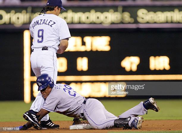 Los Angeles Dodgers Adrian Beltre is safe at second under tag of San Diego Padres Luis Gonzalez September 23 2004 at Petco Field in San Diego...