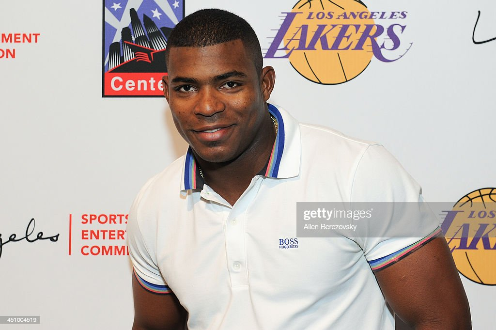 Los Angeles Dodgers baseball player <a gi-track='captionPersonalityLinkClicked' href=/galleries/search?phrase=Yasiel+Puig&family=editorial&specificpeople=10484087 ng-click='$event.stopPropagation()'>Yasiel Puig</a> attends the Los Angeles Sports and Entertainment Commission's 10th annual Lakers All-Access event at Staples Center on November 20, 2013 in Los Angeles, California.