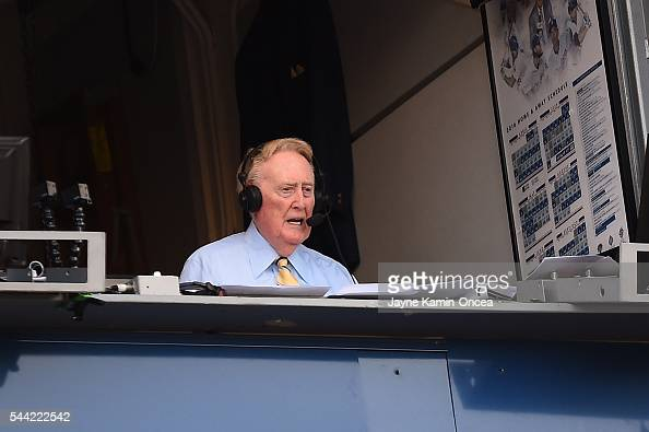 Los Angeles Dodgers broadcaster Vin Scully announces the game against the Colorado Rockies at Dodger Stadium on July 1 2016 in Los Angeles California