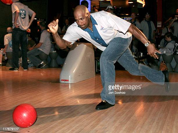 Los Angeles Dodgers catcher Sandy Alomar Jr bowls during the second annual Eric Gagne Dodgers Dream Foundation Bowling Extravaganza on Monday May 8...