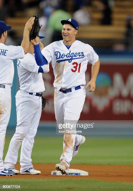 Los Angeles Dodgers center fielder Joc Pederson heads off the field after the Dodgers defeated the Colorado Rockies 4 to 0 in a game played on June...