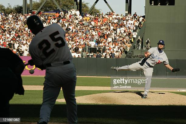 Los Angeles Dodgers closer Eric Gagne right vs San Francisco Giants Barry Bonds Sunday September 26 2004 at SBC Park in San Francisco California The...
