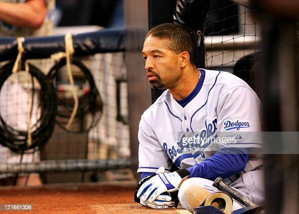 Los Angeles Dodgers Dave Roberts waits for his turn to hit against the San Diego Padres at Petco Park in San Diego California on July 30 2004