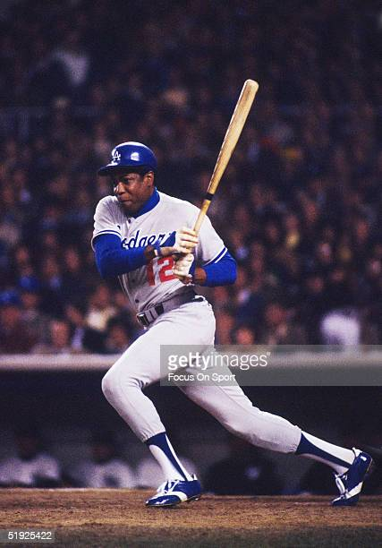 Los Angeles Dodgers' Dusty Baker swings during the World Series against the New York Yankees at Yankee Stadium in October of 1977 in Bronx New York