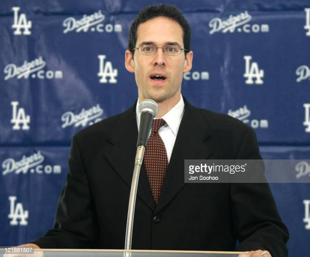 Los Angeles Dodgers general manager Paul Depodesta speaks about newest acquisition JD Drew at press conference held Thursday December 23 2004 at...