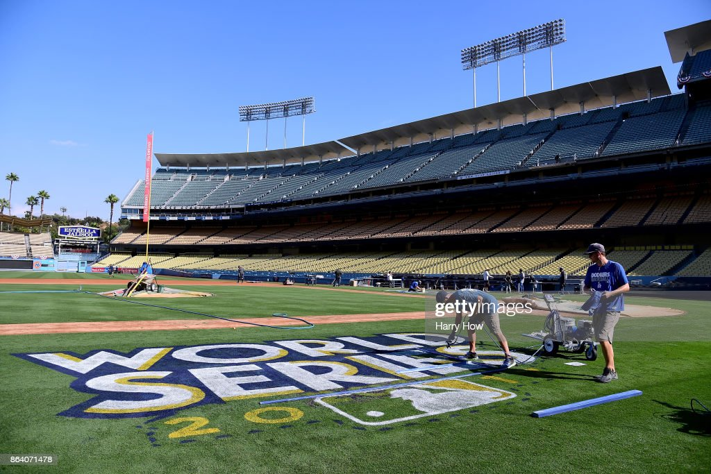 World Series Logo Painted on Dodger Stadium Field