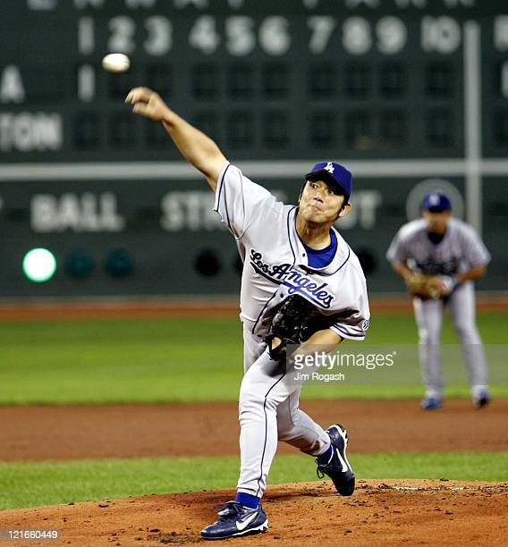 Los Angeles Dodgers' Hideo Nomo throws against the Boston Red Sox in the first inning at Fenway Park in Boston Saturday June 13 2004