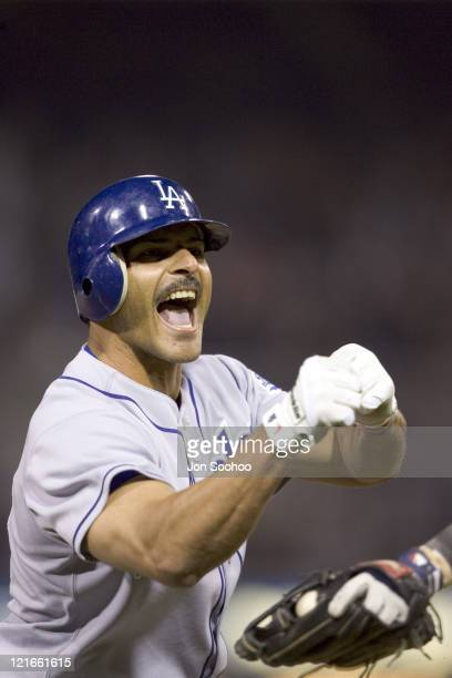 Los Angeles Dodgers Jose Valentin pumps his fist after tripling vs San Diego Padres to score two runs at Petco Park Wednesday April 20 2005 in San...