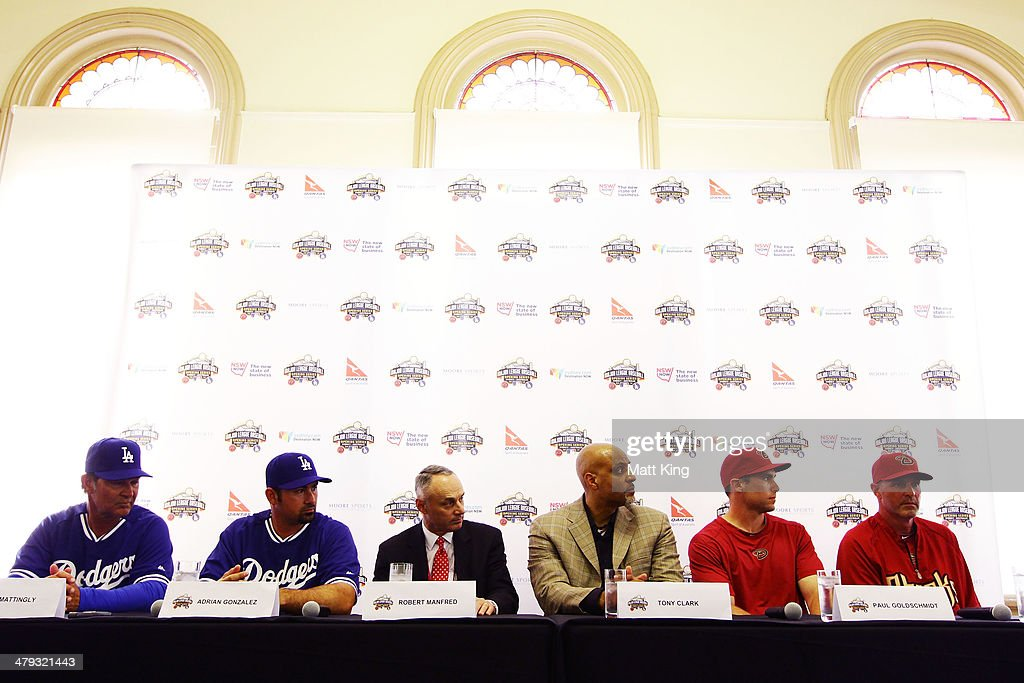 Los Angeles Dodgers Manager Don Mattingly, Los Angeles Dodgers player Adrian Gonzalez, MLB COO Robert Manfred, MLBPA Executive Director Tony Clark, Arizona Diamondbacks Manager Kirk Gibson and Arizona Diamondbacks player Paul Goldschmidt attend the MLB Welcome to Australia Press Conference at Sydney Cricket Ground on March 18, 2014 in Sydney, Australia.