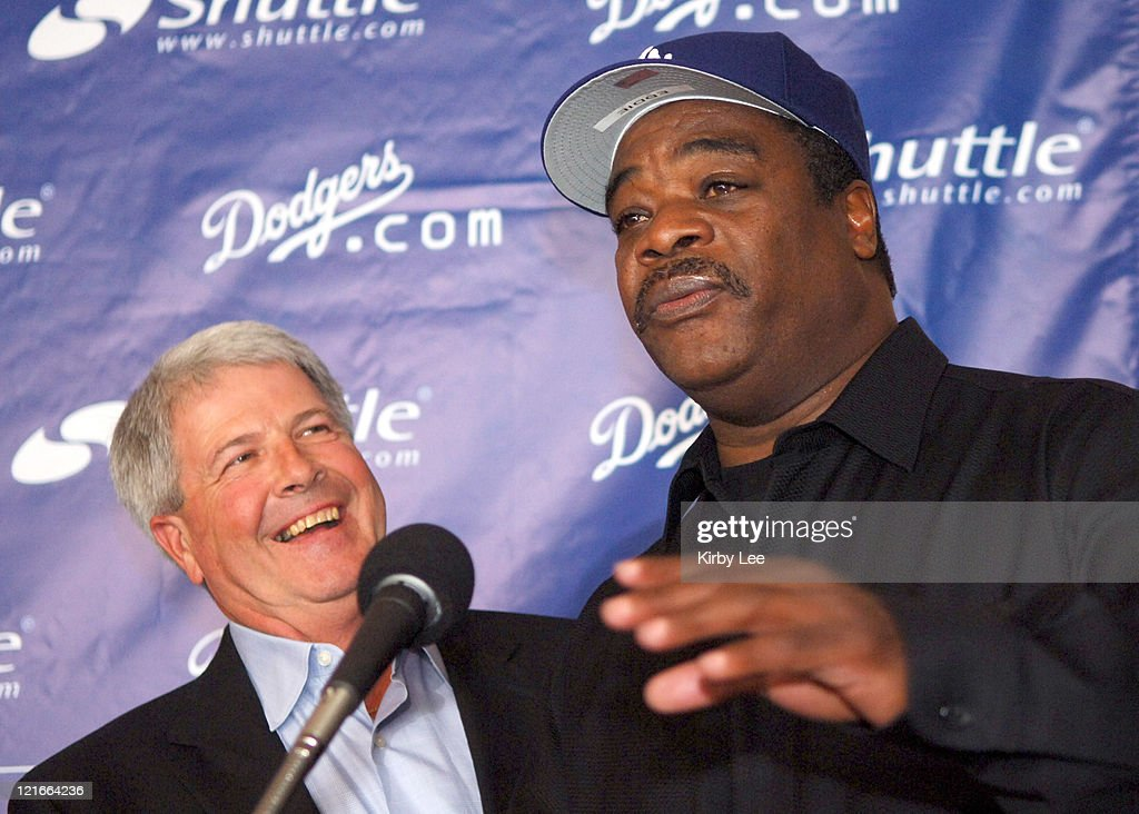 Los Angeles Dodgers manager Grady Little and hitting coach <a gi-track='captionPersonalityLinkClicked' href=/galleries/search?phrase=Eddie+Murray&family=editorial&specificpeople=210573 ng-click='$event.stopPropagation()'>Eddie Murray</a> at the press conference to announce the 2006 coaching staff at Dodger Stadium in Los Angeles, California on Wednesday, January 11, 2006.