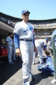 Los Angeles Dodgers manager Joe Torre in the dugout prior to the game against the San Francisco Giants at ATT Park on August 12 2009 in San Francisco...