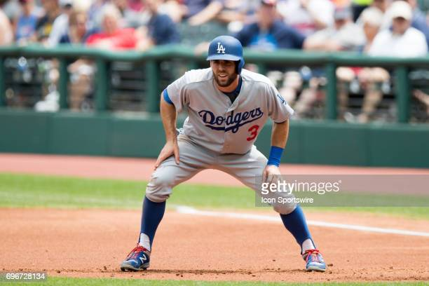 Los Angeles Dodgers outfielder Chris Taylor leads off from first base during the first inning of the Major League Baseball Interleague game between...