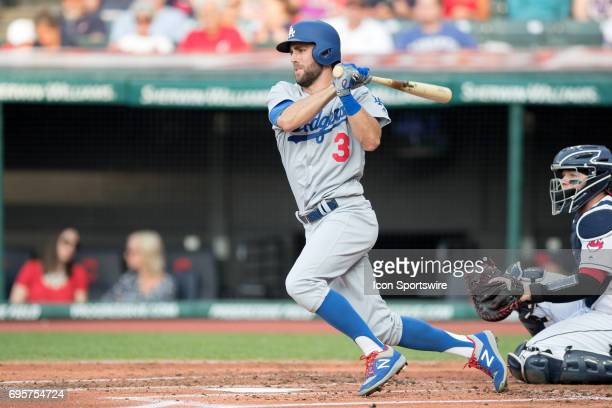 Los Angeles Dodgers outfielder Chris Taylor singles to left during the second inning of the Major League Baseball Interleague game between the Los...