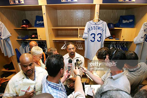Los Angeles Dodgers outfielder Dave Roberts speaks to the media after being traded to the Boston Red Sox at Petco Park in San Diego California on...
