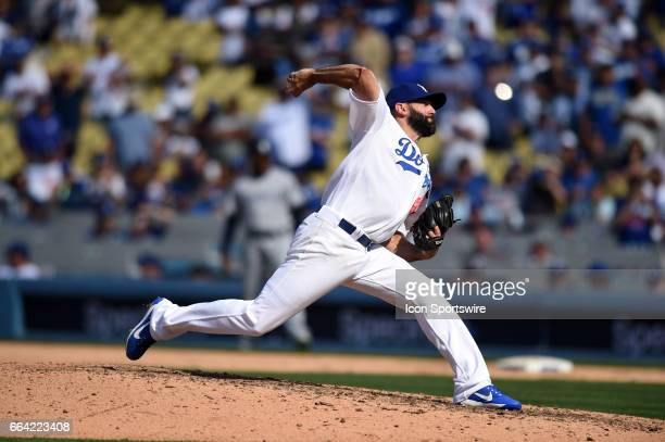 Los Angeles Dodgers Pitcher Chris Hatcher throws a pitch in the top of the 9th inning during an MLB opening day game between the San Diego Padres and...