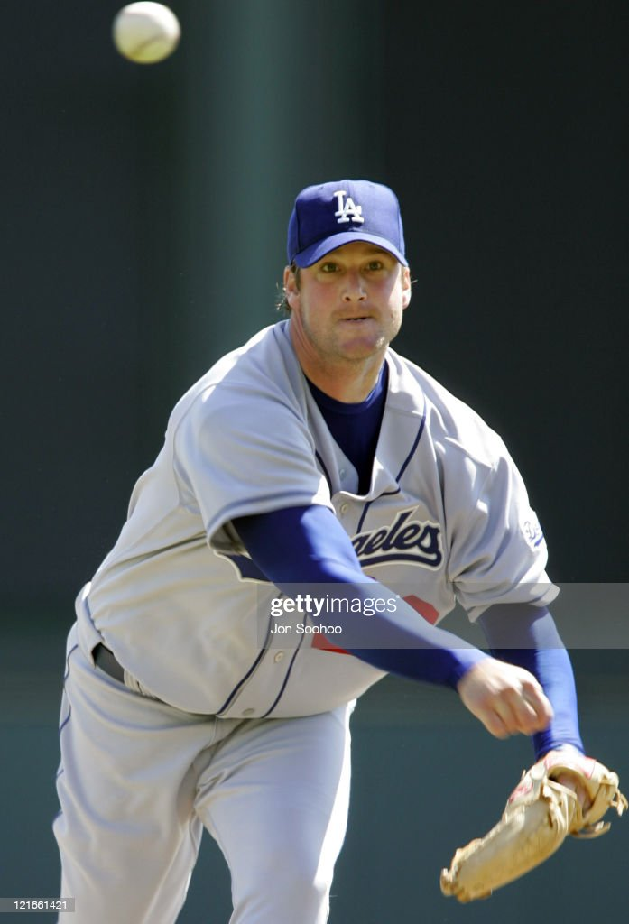 Los Angeles Dodgers pitcher Derek Lowe during game against Atlanta Braves at Cracker Jack Stadium in Kissimmee Florida Friday March 4 2005 The Braves...